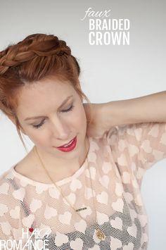 Hair Romance - Braid cheat - Faux braided crown hairstyle tutorial. Click through for full tutorial.