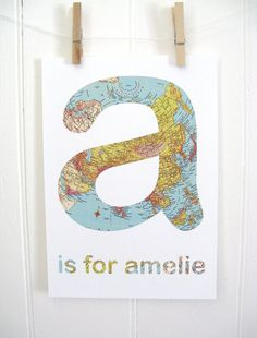 $20 Kathy Panton on Etsy - name print - any Letter Vintage Map Style
