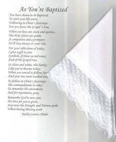 Best #LDS Baptism Gifts and Traditions...sweet baptism poem