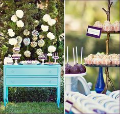 The presentation & set up of this buffet looks as delicious as the treats! Tissue and paper pom garlands make for such a pretty backdrop…