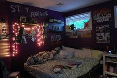 #fairy lights.#picture collage.#teen room