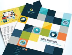 Eye-catching brochure, flyer, and print ad templates for an advertising company. @StockLayouts