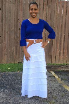 Jade Mackenzie - Royal Blue 2/3 RUFFLE SLEEVE SOLID RAYON TOP, $28.00 (http://www.jademackenzie.com/royal-blue-2-3-ruffle-sleeve-solid-rayon-top/)