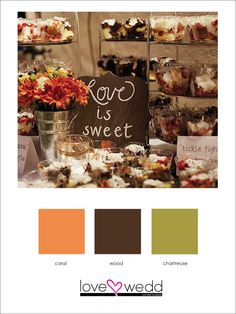 coral, brown, green #color palette #wedding