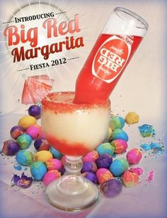 Big Red Margarita Recipe -   1 oz Triple Sec, 2/3 Margarita Mix, Big Red or Strawberry Soda, and 1 oz Tequila.  Mix all ingredients in a cocktail shaker/stirrer and pour into an unusually shaped glass. Add crushed Ice and decorations to create a great speciality drink from an easy to make recipe.