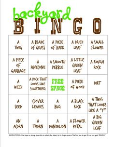 Backyard Campout Bingo game