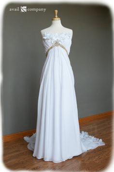 Wedding Dress with Gorgeous Gold Beading and Cut Fabric by AvailCo