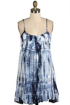 She Sells Seashells Tie Dye Dress - Navy