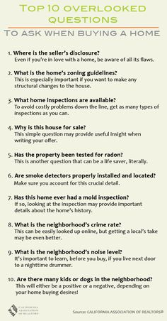 Top 10 Overlooked Questions to Ask When Buying a Home | C.A.R. One Cool Thing