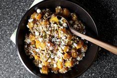 butternut squash, salad recip, butternut salad, ricotta salata, squash salad, farro, winter squash, salads, pepita