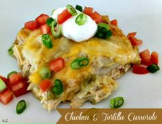 1 whole chicken, cooked/meat shredded  1 Tbs olive oil (or butter) not both  1 small sweet onion, chopped  1 can (4.5 oz) diced green chiles  1 garlic clove, minced  1/2 tsp celery salt  1/2 tsp black pepper  1 can cream of chicken soup  1 1/2 cups shredded cheddar cheese  1 1/2 cups shredded jack cheese  10 corn tortillas, cut into strips  1 to 2 cups chicken broth    Directions:  Heat oven to 350 degrees.  In a small skillet, saute your onion and chiles for a few minutes; just until onion soft