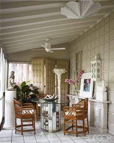 interior design, larri laslo, elle decor, palm beach, folding screens, veranda, porch, decor blogs, beach interiors