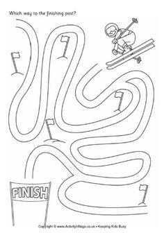 Ski maze: Winter Olympics Crafts for Kids. #StayCurious ski maze, olympics crafts, olympics for kids, winter olympics, olympic crafts, olymp craft, theme preschool olympics, preschool classroom, skiing crafts for kids
