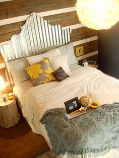 idea, guest bedrooms, sheet metal, tins, metals, diy headboards, hous, guest rooms, wood walls