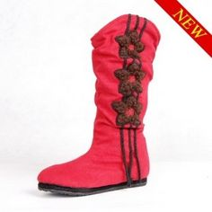 Hanwu embroidered red boots peach blossom - miyafeeling.com