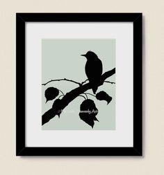 8 x 10 Bird on Branches Home Wall Decor, Pale Green Nature Wall Art Bird Art Print (70)