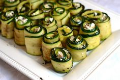 Grilled Zucchini Rolls with goat cheese, raisins & pistachios.