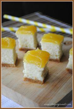 Lemon Cheesecake Bites with lemon curd on top!