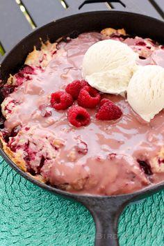 Hot Raspberry Cake with Vanilla Ice Cream