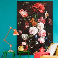 bathroom colors, tiles, blue walls, interiors, mural, flowers, wall colours, floral, design