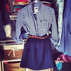 Gingham Shirt with Belt and Navy Skirt