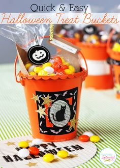 These Halloween treat buckets are made in just minutes, and they would be perfect party favors, neighbor gifts, and more!