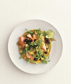 Salmon, Black Bean, and Corn Tostadas from realsimple.com #myplate #protein