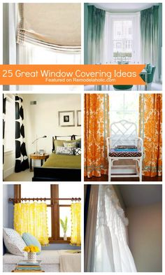 25 Great Window Covering Ideas featured on Remodelaholic.com #windows #draperies #curtains