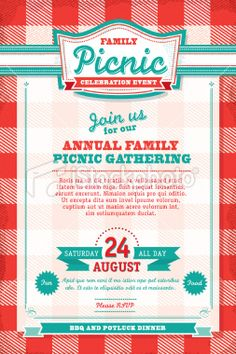 Family Picnic Celebration Invitation Design Template Royalty Free U2026