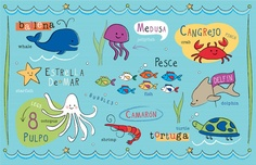 Kids Ocean Friends in Spanish Placemat by kimschwede on Etsy. Kids can learn ocean animals in Spanish + English. Whale, Fish, Crab, Turtle, Dolphin, Octopus...