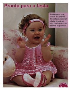 Pink with White Trim Baby Dress free crochet graph pattern