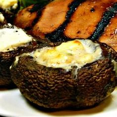 "Grilled Portobello Mushrooms with Blue Cheese | ""Excellent idea for the grill! Anyone who loves mushrooms or blue cheese will love this recipe. When it is done, its like a mini gourmet pizza. This recipe goes well with grilled steak and grilled asparagus."""