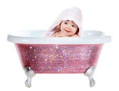 """""""Look! It's a baby inside a MAGIC bath tub."""" #mazzyspins baths, gift, diamonds, bathtubs, bath tub, babi bathtub, pink, swarovski crystals, diamond bathtub"""