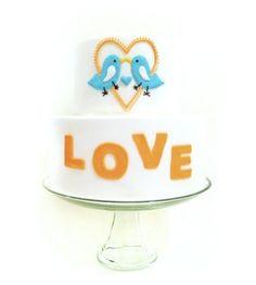 """Love Birds"" Blue & Light Brown Wedding Cake"