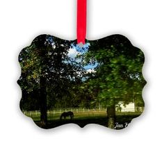 Rural Life Ornament with a horse farm scene just $10.25 for a unique ornament for the tree or other decorating area.