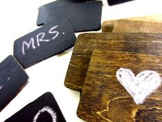 Wedding Chalkboards Small Place Cards, Signages or DIY Save the Date Cards 24pcs, via Etsy.