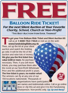 Free hot air balloon ride for your silent auction