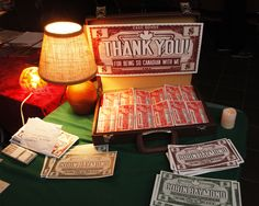 "This display of a suitcase full of Canadian Tire Money both welcomed and thanked audience members as they arrived at the TRANZAC club in Toronto on Jan 24/25 for the ""Paper Nickels"" live album recording shows."