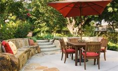 stone seat, landscaping ideas, southern california, bench, seat wall, dine patio, photo galleries, garden, bright colors
