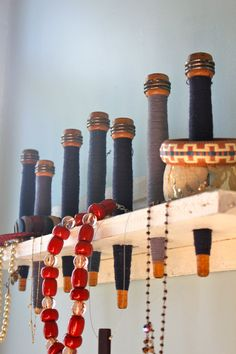 Bracelet holder - way to use my antique bobbins and/or clothespins
