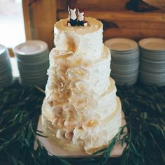 Rustic Wedding Cake with Fox Toppers | Ely Brothers Photography | www.theknot.com