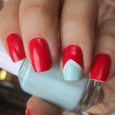 Mint and white chevron accent on red nail art design...different color combo...I like it. #nails #nailart