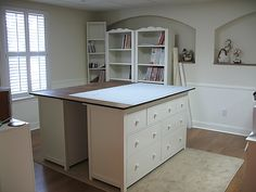 Great ideas for sewing room table. Putting 2 dressers together and adding a counter top...Perfect!!
