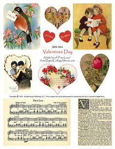 free Valentine's Day collage sheet