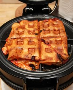 Cook leftover pizza with a waffle iron. YUM.
