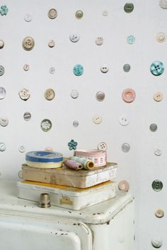 buttons wallpaper for craft room