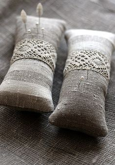 Linen pincushions, via Flickr.