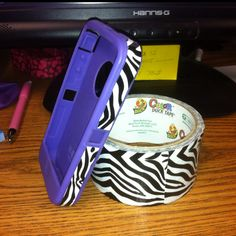 Decorated my otter box case with zebra duck tape. @Roxanne R. R. R. Randall a way for you to personalize otter box-considering all the duct tape designs lol