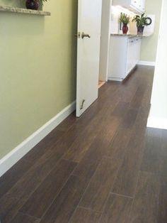 wood tile flooring, love the dark tile/dark grout/staggered seams