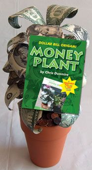 I've made this neat money plant before. I like the way the leaves are folded in the shape of real leaves. It's a good way to give a cash gift.